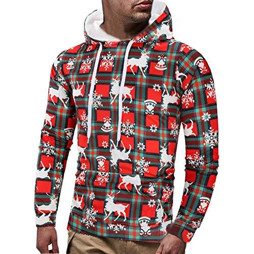 MAYOGO Herren PU Blend 3D Druck Hoodie Gym Training Laufen Sportliche Kapuze Sweatshirts Dehnbares Kapuzenpullover Sportshirt (rot, L)