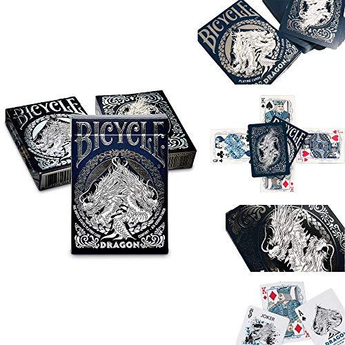 LuxTri Bicycle Dragon Deck | Fantasy Pokerkarten-Spiel | Poker Playing Cards in Casino-Qualität by USPCC Spielkarten | 3 Gratis Look and Feel-Cards | Premium Kartenspiel inklusive Air Cushion Finish