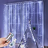 shleyqin Curtain String Lights 300 LED Window Curtain String Light, 9.8Ft Dimmable & Waterproof Window Fairy Lights with 8 Modes Remote Control, Fits for Indoor Wall Christmas Decoration (White)