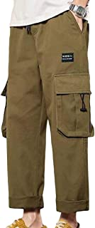 Macondoo Men's Multi Pocket Plus Size Ripstop Casual Trousers Baggy Cargo Pants