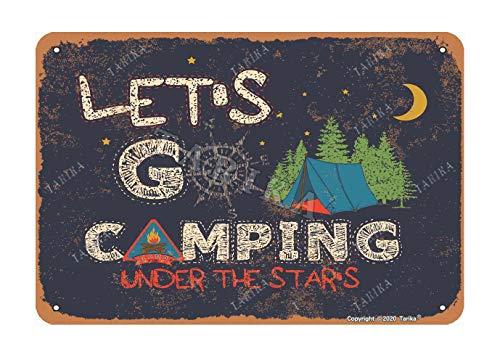Let'S Go Camping Under The Stars Metal Look Retro 20.3 x 30.4 cm Decoración de Arte para el hogar, cocina, baño, granja, jardín, garaje, citas inspiradoras, decoración de pared
