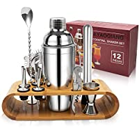 ayaoqiang set cocktail 12 pezzi, kit da barman in acciaio inox, cocktail shaker set, 750ml shaker con accessori, cocktail set con di bamboo supporto, per casa e bar.