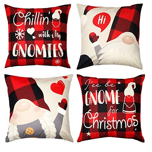 D-FantiX Gnome Christmas Pillow Covers Set di 4,18x18 pollici Fodere per cuscini natalizi Svedese Tomte Scandinavo Yule Santa Cuscino in lino Fodere decorative per cuscini,Federa Decorazioni natalizie