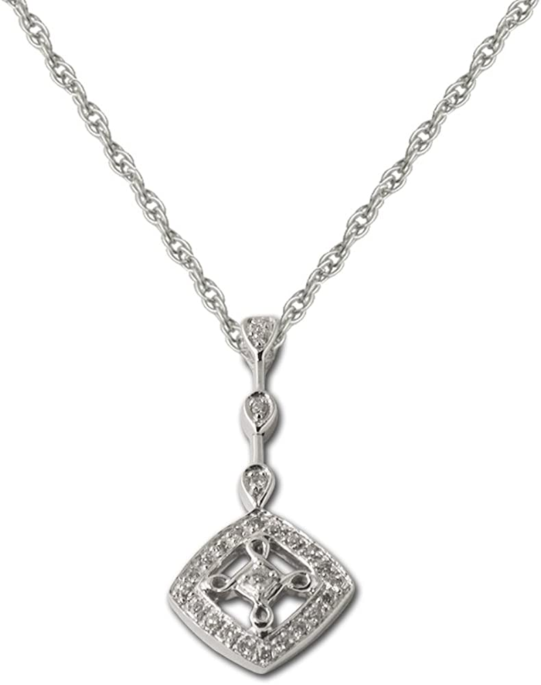 TriJewels AGS Certified Diamond Dangling Pendant (SI2-I1,G-H) 1/4 ctw 14K White Gold 18