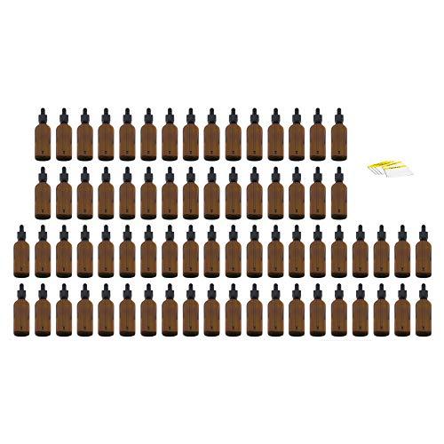 Oputec 100 ml Pipeta Botella con pipeta de cristal + etiquetas de etiquetado Botella de líquido para líquidos, E-Liquids Botella de vidrio marrón Frasco de farmacia con pipeta, 70 x 100ml, 1