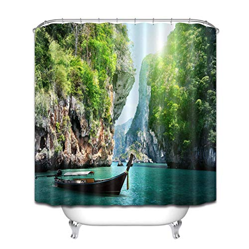 123456789 Cortina de ducha larga en barco y roca en Railay Beach. Cortina de ducha impermeable de material de poliéster lavable a máquina esencial para el baño