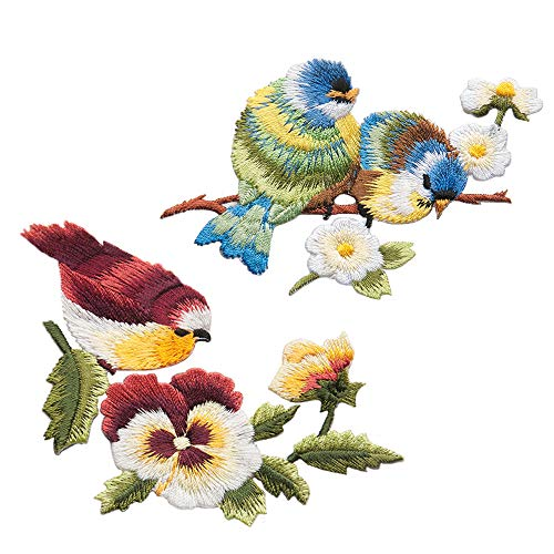 ZOOPOLR 2 Pcs Cute Birds and Flowers Delicate Embroidered Patches, Embroidery Patches, Iron On Patches, Sew On Applique Patch,Cool Patches for Men, Women, Boys, Girls, Kids