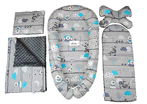 JUKKI MINKY Set d équipement initial bébé 5 pièces: nid bébé 50x90cm, coussin d allaitement, couverture douillette, couverture bébé, oreiller, nid bébé, 100% coton, lit parapluie