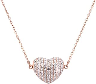 Bevilles Rose Stainless Steel Pave Crystal Puff Heart Necklace