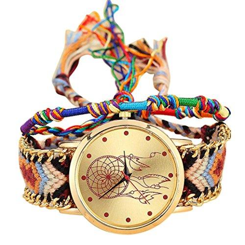 Weben Sie die Traum-Chaser Armband Uhren,Kaiki Vansvar Native Handmade Damen Vintage Quarzuhr Dreamcatcher Freundschaft Uhren