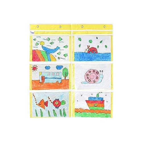 XQK Imagen Bolsillo Pantalla para Colgar En La Pared Galería De Fotos Cortina De Fotos A4 Marco De Pared De Plástico con 6 Bolsillos Y 6 Ganchos, 68 * 78 Cm (Amarillo)