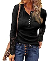 Womens Solid Color Long Lace Sleeve Round Neck Buttons Tunic Tops Fall Henley Shirts-1black-8X-Large