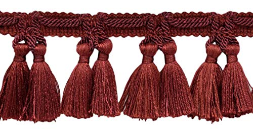 Review DÉCOPRO 18 Yard Package of Veranda Collection 2.5 Inch Tassel Fringe Trim|Rust, Brick Red|St...