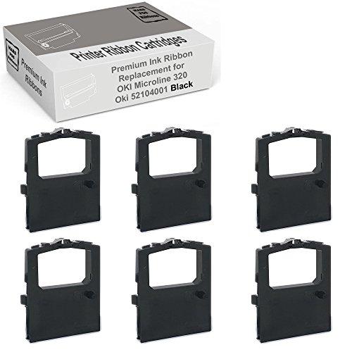Mars POS Ribbons Compatible with Okidata Microline 320 Turbo Ribbon Oki 52104001 (Black, 6 Pack)