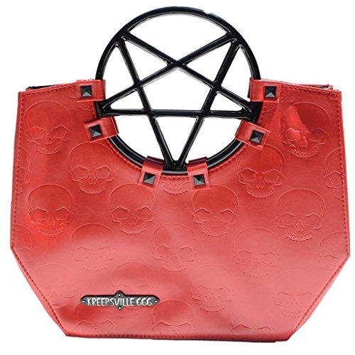 Nueva Kreepsville 666Pentagram mango bolso de mano bolsa Negro Rojo Horror moda hombro bolsas de mano