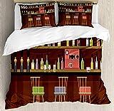 Juego de funda nórdica para bar, club nocturno, escena de pub, taberna, lugar con botellas de alcohol, bebidas alcohólicas, momentos divertidos, juego de cama decorativo de 3 piezas con 2 fundas de al