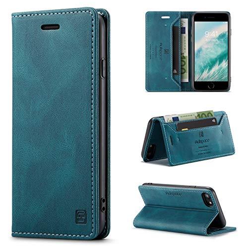 uslion Hülle für iPhone 6/6s/7/8/se 2020 RFID SchutzHandyhülle Kartenfach Geld Slot Ständer Flip Case Magnetisch Klapphülle Lederhülle Schutzhülle für iPhone6/6S/7/8/SE2 Hülle - Blau