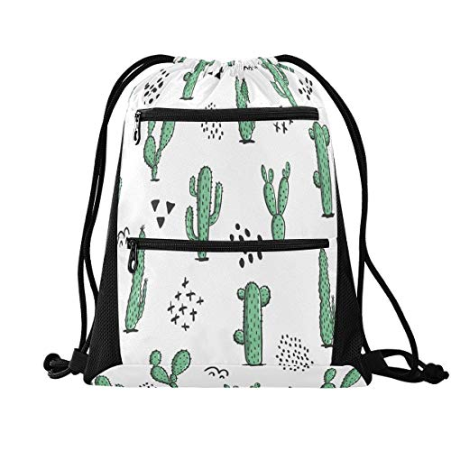 HMZXZ RXYY Tropical Cactus Leaves Drawstring Gym Bagwith zip pocket Sackpack Drawstring Cinch Backpack Sport Rucksack Daypack Travel Yoga for Men Women Boys Girls