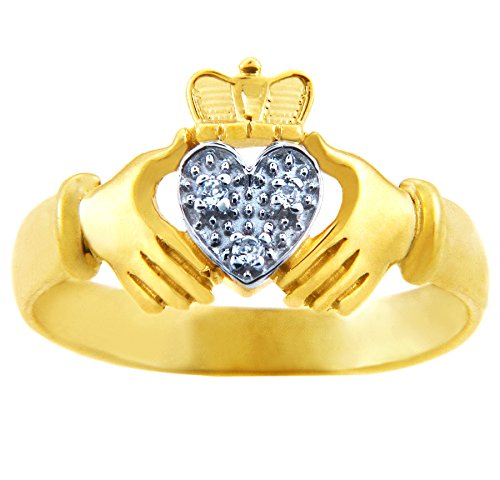 Pequeños Tesoros - Anillos Damas 10 Kt Oro 471/1000 Claddagh - Blanco Corazón 2 Colores Oro Claddagh Con Diamante