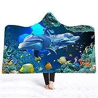 HUHN プリントマントショールフード付きブランケット、冬厚暖かく暖かく柔らかいぬいぐるみ快適なウェアラブルベッドルームソファP30(サイズ:130 x 150cm)