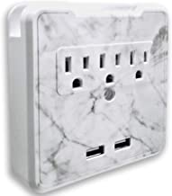 Glamsockets Decorative Wall Mount Surge Protector with 3 Outlets, Dual USB Charging Ports and Phone Holder - USB Charging Center/Multi Function Wall Tap (Carrara Marble)