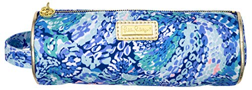 Lilly Pulitzer Blue Pencil Pouch Holder, Cute Travel Bag/Case with Carrying Handle and Zip Close, Wave After Wave