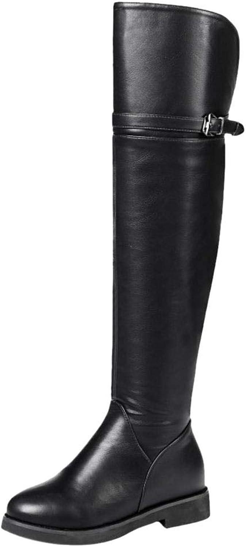 VulusValas Women Flat Thigh High Boots Zipper