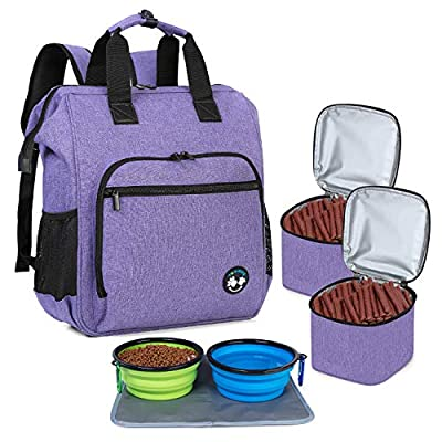 Teamoy Dog Travel Backpack, Pet Supplies Bag Tote with 2 Silicone Collapsible Bowls, 2 Food Carrier, 1 Water-Resistant Placemat, Purple