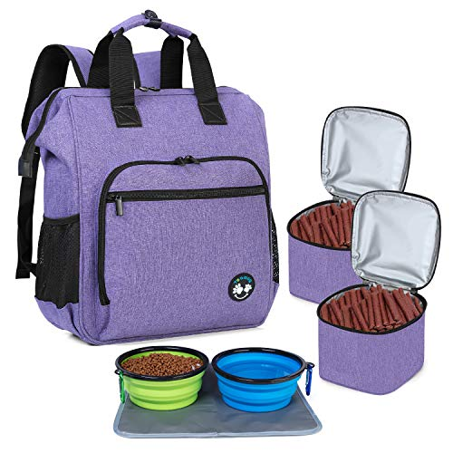 Teamoy Travel Bag for Dog Gear, Dog Travel Bag Backpack for Carrying Pet Food, Treats, Toys and Other Essentials, Ideal for Travel or Camping, Purple