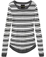 Fancy Stitch Women's Crewneck Cable Knitted Striped Sweater Top Steel Gray