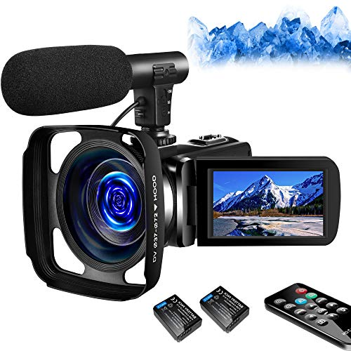 SAULEOO 4K Video Camera Camcorder Digital YouTube Vlogging Camera Recorder UHD 30MP 3 Inch Touch Screen 18X Camcorder with Microphone,2 Batteries