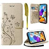 AROYI Lederhülle Kompatibel mit Samsung Galaxy A21s Hülle & Schutzfolie, Flip Wallet Handyhülle PU Leder Tasche Hülle Kartensteckplätzen Schutzhülle Kompatibel mit Samsung Galaxy A21s Gold