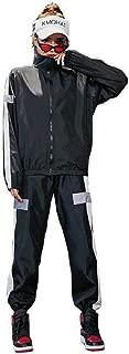 Mogogo Unisex Harem Pants Zip Up Sports Zip Contrast Color Sport Sweat Suit Set