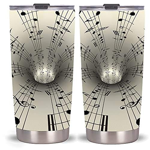 20oz Music Tumbler Cup , Insulated Tumbler With Lids , Stainless Steel Double Vacuum Coffee Tumbler Cup, Tumbler Travel Mug (Black and White Notes)