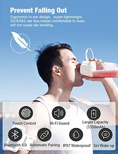 [Upgrade] True Wireless Earbuds,Bluetooth Earphones Bluetooth 5.0 Earbuds IPX7 Waterproof Headphones Auto Pairing in-Ear Stereo 90H Cycle Play Time Wireless Headset with 3350mAh Charging Case 5