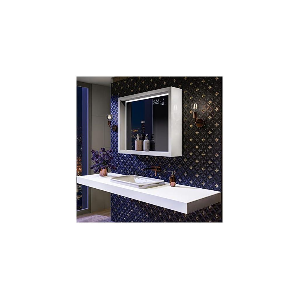 Artforma Moderne Miroir avec LED Illumination Salle de Bain 90×60 cm avec Cadre et étagère – sur Mesure – de Nombreux…