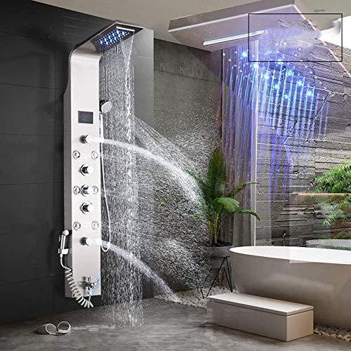 SISHUINIANHUA Duschsystem LED-Licht Dusche Wasserhahn Wasserfall Regen Schwarz Duschpaneel In Wand mit Spa Massage Sprayer Bidet Head Handshower