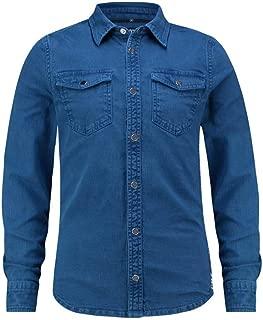 TANGO & CASH Mens Blue Denim Stretch Shirt
