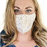 Bridal Lace Face Mask for Wedding, Champagne with White Lace, Reusable, Washable, Made in USA (1 Mask)