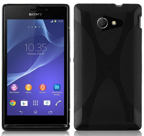 Cadorabo Hülle für Sony Xperia M2 / M2 Aqua in Oxid SCHWARZ – Handyhülle aus flexiblem TPU Silikon – Silikonhülle Schutzhülle Ultra Slim Soft Back Cover Hülle Bumper