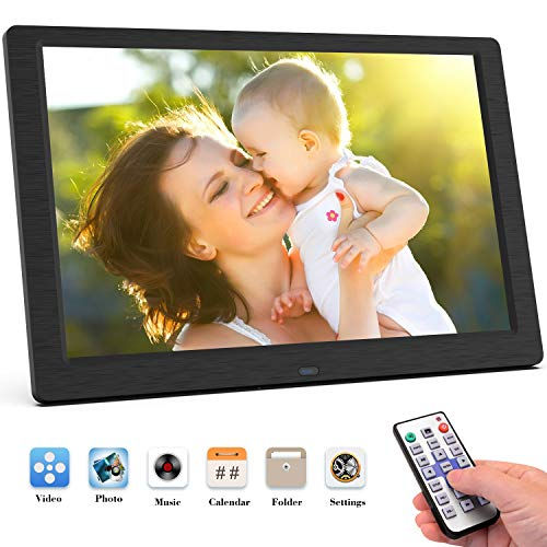 Digital Picture Frames Ultra-thin Narrow Side 12 Inch Digital Picture Frame 800600 Pixels High Resolution LED Screen 1080P HD Video Playback Auto On//Off Timer Remote Control Included Video Frame