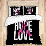 KOSALAER Funda nórdica, Concienciación sobre el cáncer de Mama Faith Hope, Juego de Ropa de Cama con Funda de edredón de Microfibra Suave de Lujo con Cierre de Cremallera