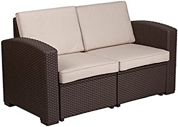 Flash Furniture Chocolate Brown Faux Rattan Loveseat with Beige Cushions