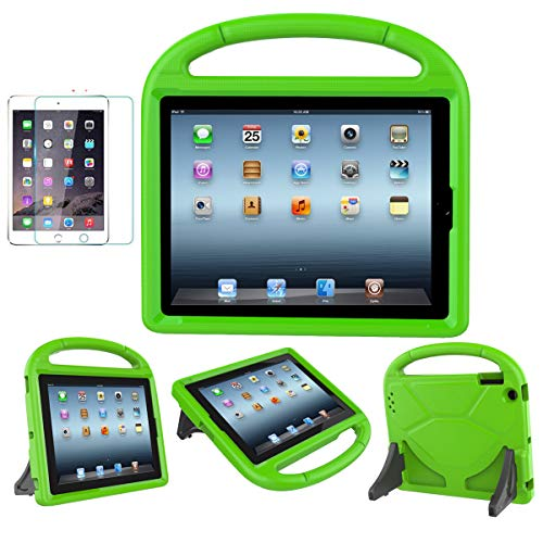 MOXOTEK Kids Case for iPad 2/3/4 (9.7 inch,2011/2012), Durable Lightweight Shockproof Protective Handle Stand Cover with Screen Protector for iPad 2nd/3rd/4th Generation(NOT for 5th/6h Gen), Green