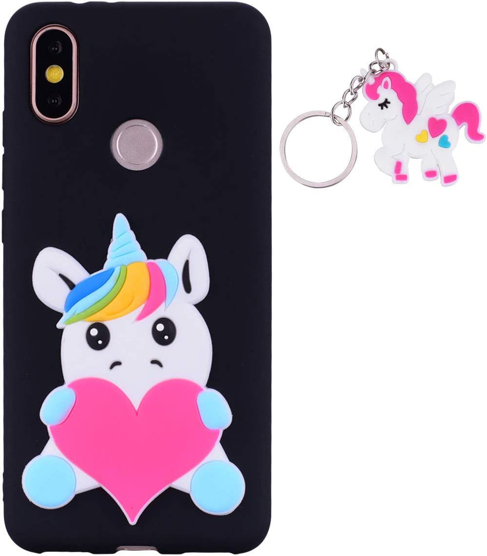 ChoosEU Funda para Xiaomi Mi A2 Lite Silicona 3D Dibujos Unicornio Carcasas TPU Case Antigolpes Bumper Cover Protección Caso Flexible Gel - Unicornio Negro + Llavero