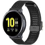 Correa Compatible con Huawei Watch GT/GT2 42mm/Honor Magic Watch 2 42mm/Samsung Galaxy Watch 42mm/Galaxy Watch Active 2 Correa Malla Metal Banda de Repuesto para Hombre/Mujer (20mm, Negro)