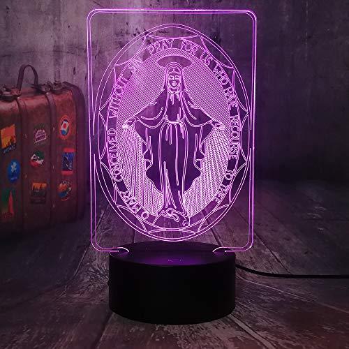 Selige Jungfrau Maria Babe Gläubige 3D LED Nachtlicht USB Tischlampe Kinder Geburtstagsgeschenk Nachtzimmer Raumdekoration