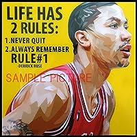 デリック・ローズ NBA シカゴ・ブルズ 海外スポーツ グラフィックアートパネル 木製 壁掛け ポスター インテリア用 バスケットボール (26*26cm アートパネルのみ)