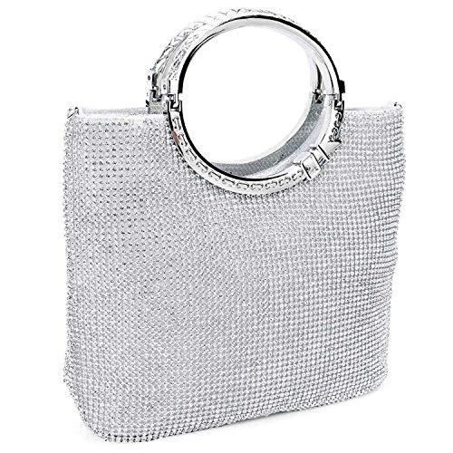 Cikuso Damen Handtasche Strass + Satin Brot Abendtasche Hochzeit Handtasche (Silber)