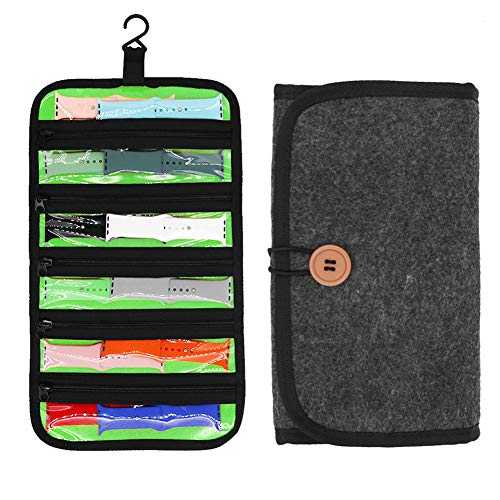 Watch Band Storage Bag, Luggage Travel Hanging Watch Organizer, Watch Band Carrying Bag with 5 Zippered Clear Pockets, Organizer for Watch Band Straps Accessories